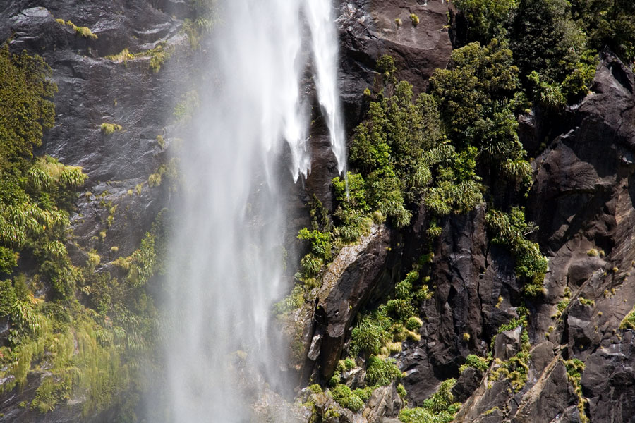 Water falling, Milford Sound
