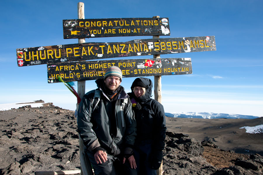 At the top - Uhuru Peak (5895m) - Climbing Kilimanjaro